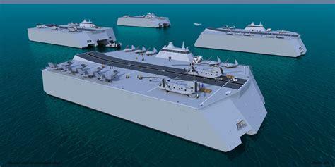 Catamaran Aircraft Carrier Design by Maacs Multihull Air Hibious Carrier Small By G