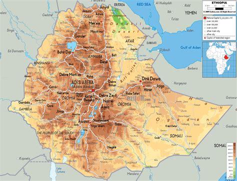 physical map  ethiopia ezilon maps