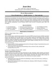 plant manager resume templates manufacturing plant manager resume sle