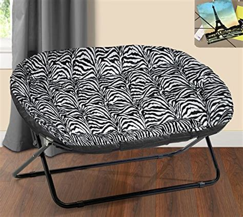 Urban Shop Double Saucer Chair, Zebra Royal Plush New Ebay