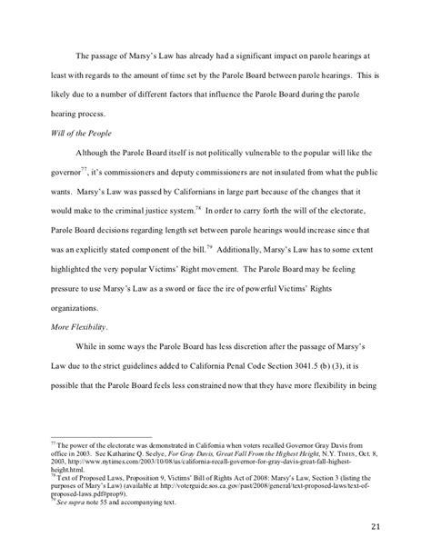 impact  marsys law  parole  california  empirical