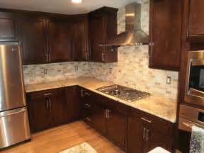 Traditional Backsplashes For Kitchens Traditional Kitchen Solarius Slab And Tumbled Travertine Backsplash Traditional Kitchen