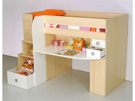 combiné lit bureau conforama lit 90x190 cm surélevé combiné coloris érable