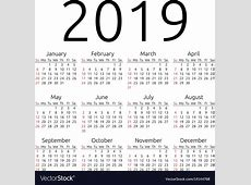 Calendar 2019 sunday Royalty Free Vector Image