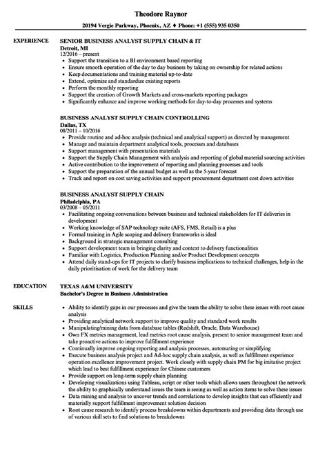 Supply Chain Analyst Resume by Business Analyst Supply Chain Resume Sles Velvet