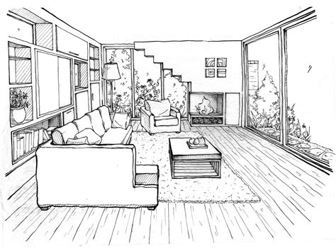 Perspective Drawing Living Room