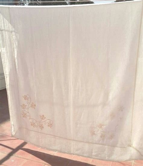 extra long white table cloth extra long white linen tablecloth with cream embroidery on