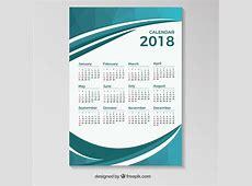 Modèle de calendrier 2018 avec des formes ondulées bleues