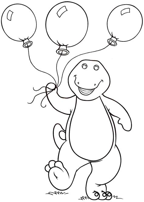 barney coloring pages barney carrying balloons barney coloring pages