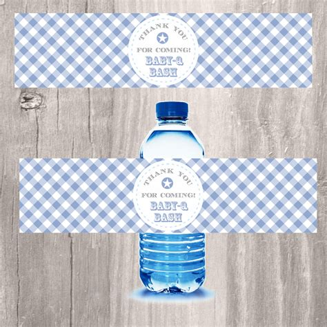 printable water bottle labels for baby shower blue baby q bash printable water bottle labels baby shower