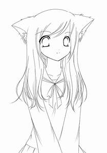 anime wolf girl coloring pages printable