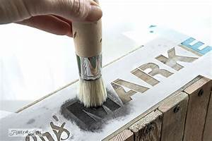 how to stencil featuring a pallet wood cratefunky junk With how do you stencil letters on wood