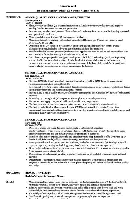 senior quality assurance manager resume sles velvet