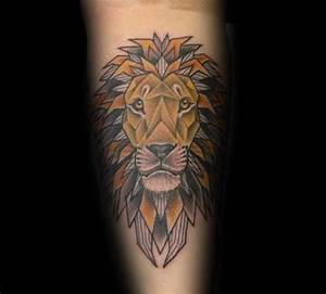 60 Geometric Lion Tattoo Designs For Men - Masculine Ideas