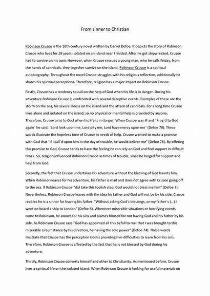 Robinson Crusoe Essay Religion