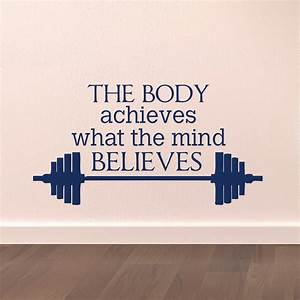 gym wall decal sports quotes the body achieves what the With the best ideas softball wall decals