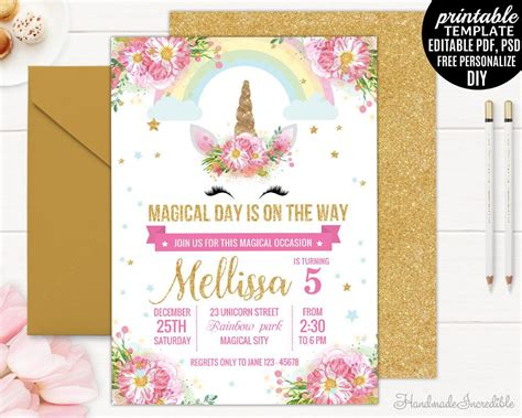 birthday invitation card template pdf unicorn birthday invitation template printable blush