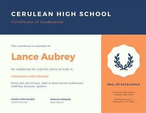 customize  high school diploma certificate templates