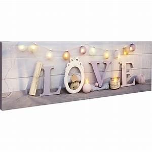toile led mot love guirlande bougies 90x30 cm leroy With carrelage adhesif salle de bain avec guirlande de led