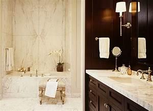 Elegant Bath; Book-Matched Marble - Interior Design