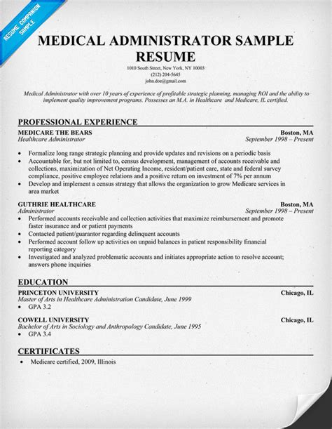 resume exles healthcare administration administrator resume resumecompanion resume sles across all industries