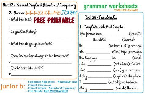 Junior B  Free Printable Grammar Worksheets Ca