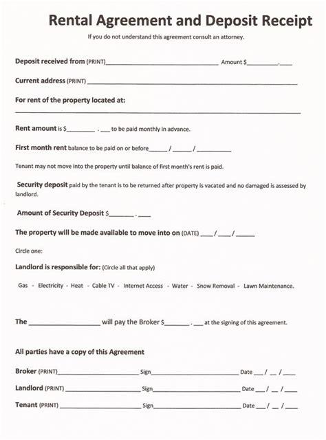 rental forms  print   printable rental
