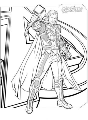 avengers thor coloring page  printable coloring pages