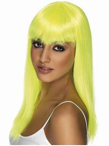 Yellow Neon Glamourama Wig with Fringe online at
