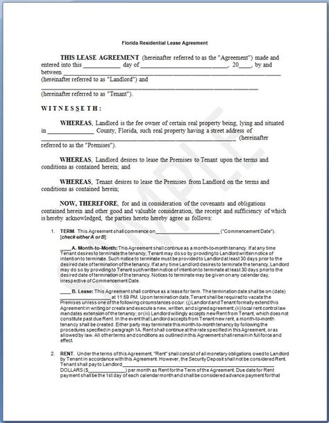 florida residential lease agreement free printable residential lease form generic Free