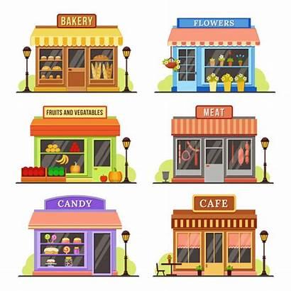 Vector Window Bakery Modern Restaurant Cartoon Facade