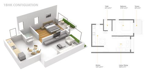 1 Bhk Floor Plan Dwg  Autocad Dwg2 Bedroom Apartment