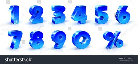Set Blue Numbers 1 2 3 Stock Vector 713649373