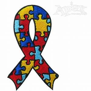 Autism Awareness Ribbon Embroidery Design