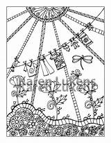 Coloring Clothes Line Adult Pages Printable Instant Etsy Books Colouring sketch template