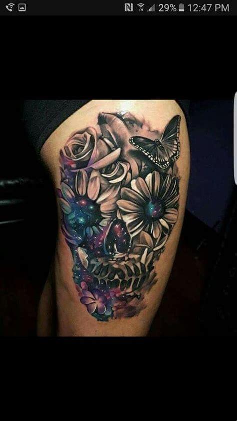 flower skull tattoospiercings pinterest flower skull tattoo  piercings