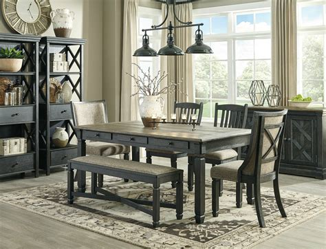 traditional rustic black brown pc dining room table