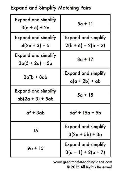 simplifying expressions matching algebra 1