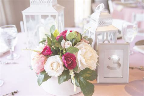 White Lantern Centerpieces with Floral Coastal Classy