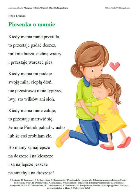 Piosenki dla mamy to ponadczasowe utwory wyrażające uczucia miłości i wdzięczności dla naszych ta piosenka dla mamy jest na wpół sentymentalna i na wpół żartobliwa, ze wspaniałym refrenem. BLOG EDUKACYJNY DLA DZIECI: DZIEŃ MAMY I TATY