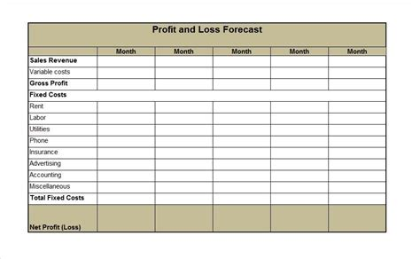 template lab  profit  loss statement templates forms