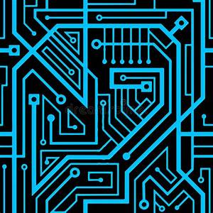 Computer Circuit Board Seamless Pattern Stock Illustration