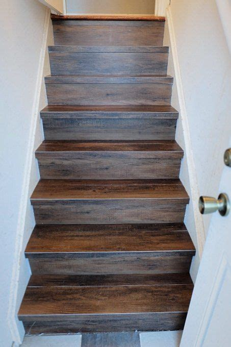 diy faux wood tile stairs   budget