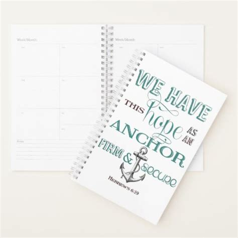 hope anchor weekly planner zazzlecom weekly planner