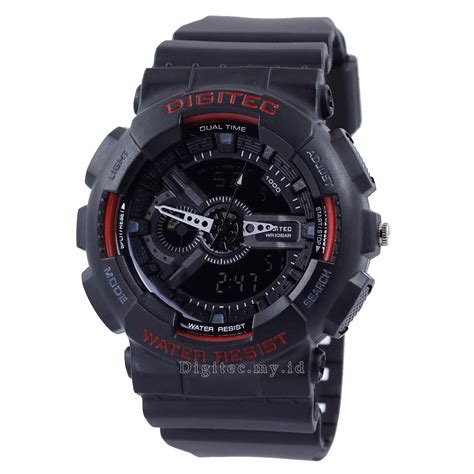 jam digitec analog digitec dg 2020t hitam merah jam tangan sport anti air murah