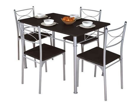 ensemble table et chaise de cuisine ensemble table 4 chaises sernan coloris gris wengé