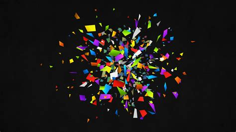 Pieces Abstract Black Color Rainbow Vector 3d Wallpaper