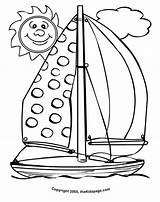 Coloring Sailboat Colouring Pages Sheets Sheet Cartoon Sun Sunny Printable Smiling Summertime Preschool Grover Realistic Popular Thekidzpage Easter Coloringhome sketch template