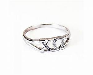 chi omega greek letter ring with diamonds With greek letter rings