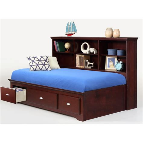 bed with bookcase footboard bernards ethan full lounge bed with bookcase headboard